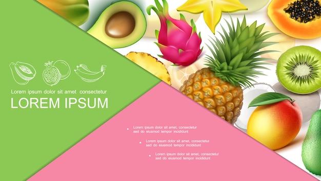 Bunte zusammensetzung der realistischen exotischen früchte mit ananas-avocado-guave-kiwi-papaya-mango-carambola-drachenfrucht