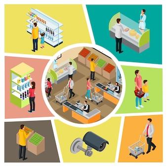Bunte zusammensetzung des isometrischen supermarkts mit sicherheitsüberwachungskameraleuten, die verschiedene produkte einzeln auswählen und kaufen
