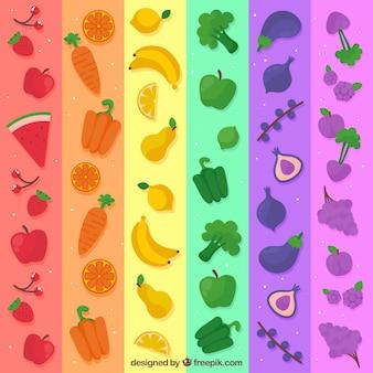 Bunte Zusammensetzung mit gesundem Lebensmittel