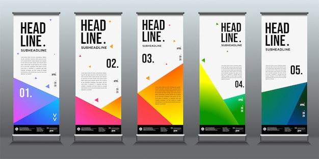 Bunter abstrakter geometrischer hintergrund für roll-up-banner-design-vorlage