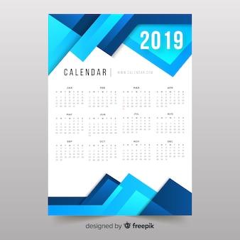 Bunter abstrakter kalender der formen 2019