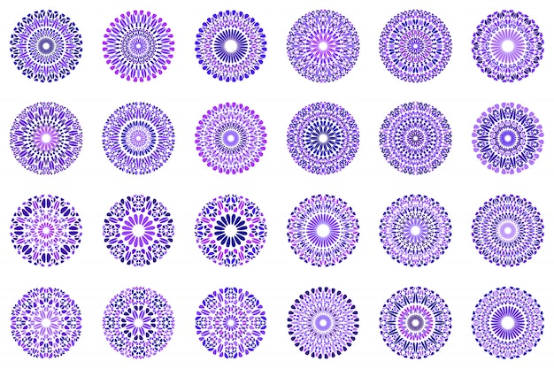 Bunter abstrakter mandala-symbolsatz