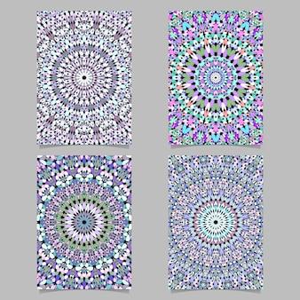 Bunter abstrakter steinkaleidoskopmandalamusterseiten-hintergrundschablonensatz