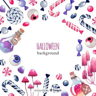 Bunter aquarell halloween-hintergrund