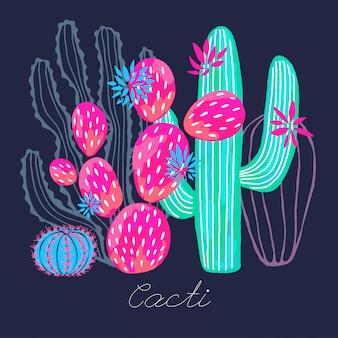 Bunter aquarell-skizzenartdruck der saftigen wilden blumen des kaktus.