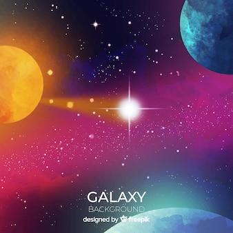 Bunter aquarellgalaxiehintergrund