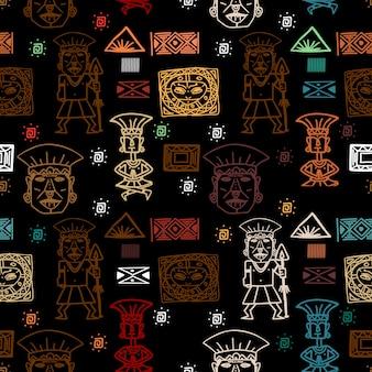 Bunter aztekischer stammes- ethnischer mustervektorhintergrund