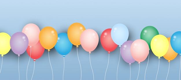 Bunter ballon mit grußkarte.