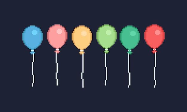 Bunter ballondesign des pixels für fahne