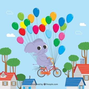 Bunter Ballonhintergrund mit nettem Elefanten