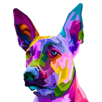 Bunter belgischer malinois-hund lokalisiert auf pop-art-stil. illustration.