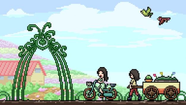 Bunter blumengarten der pixelkunstszene