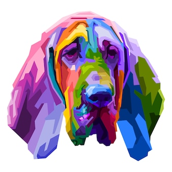 Bunter bluthundhund lokalisiert auf pop-art-stil. illustration.