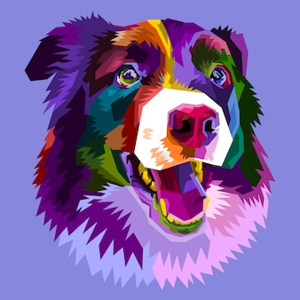 Bunter border-collie-hund lokalisiert auf pop-art-stil. illustration.