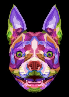 Bunter boston terrier hund auf pop-art-stil
