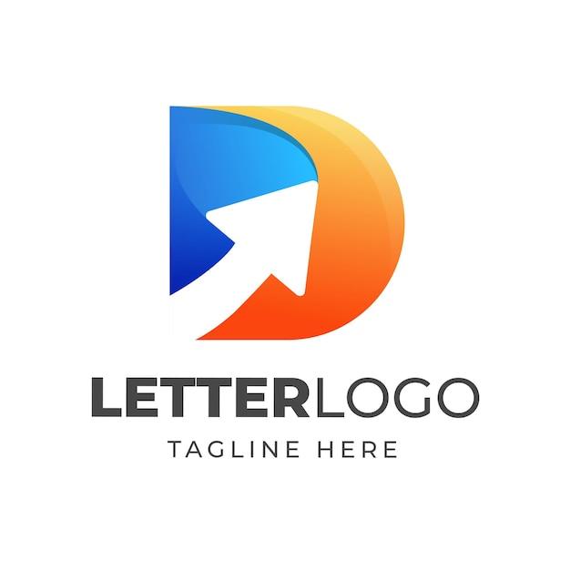 Bunter buchstabe d logoentwurf mit pfeilsymbol Premium Vektoren
