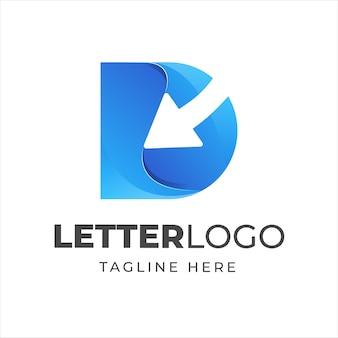 Bunter buchstabe d logoentwurf mit pfeilsymbol