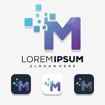 Bunter buchstabe m mit digitalem logo-design