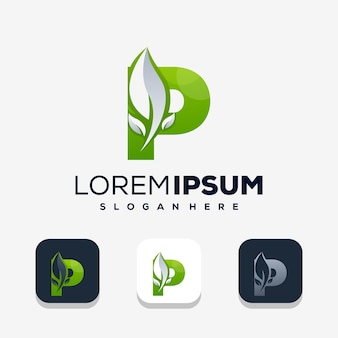 Bunter buchstabe p mit leafe-logo-design