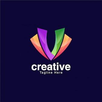 Bunter buchstabe v logo design template