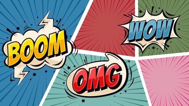 Bunter comic-pop-art-hintergrund mit sprechblase