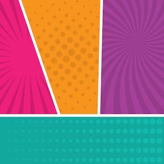 Bunter comic-seitenhintergrund im pop-art-stil. leere vorlage mit strahlen- und punktmuster. vektor-illustration