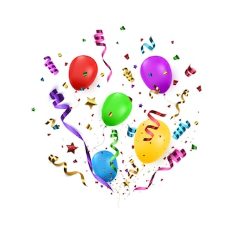 Bunter confetti mit ballonen. vektor-illustration