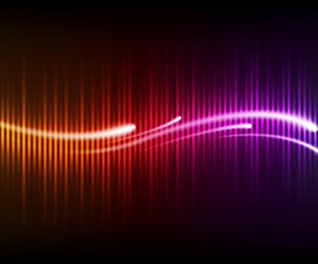 Bunter digital leuchtender equalizer mit wellen und leuchtenden linien. hintergrundmusik