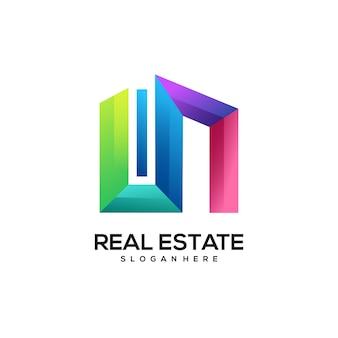 Bunter farbverlauf des immobilienlogos
