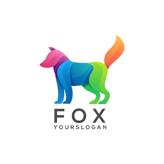 Bunter farbverlauf des logo-fuchses