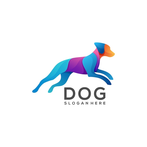 Bunter farbverlauf des logo-hundes