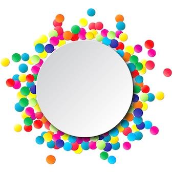 Bunter festkreisrahmen mit konfetti.