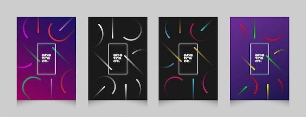 Bunter fliegerfahnen-plakatsatz der futuristischen abstrakten form