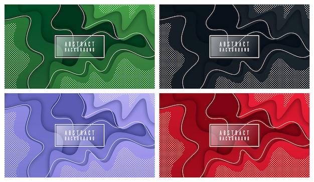 Bunter flüssiger und geometrischer hintergrund mit fließenden gradientenformen