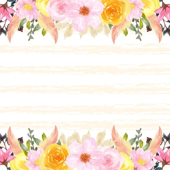 Bunter frühlingsblumenrahmen mit abstraktem gelbem hintergrund