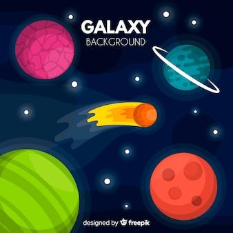 Bunter galaxiehintergrund mit flachem design