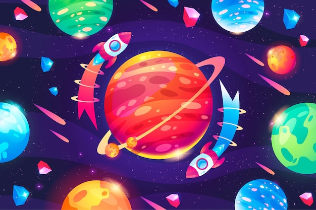 Bunter galaxienhintergrund der karikatur