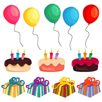 Bunter geburtstagsfeierballonkuchen-geschenkelementsatz