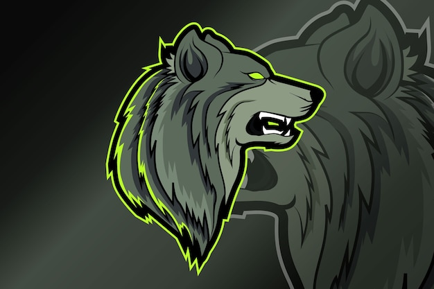 Bunter gefährlicher gruseliger wilder wolfskopf