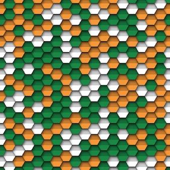Bunter geometrischer hintergrund mit papier schnitt realistische elemente in den farben der flagge von indien