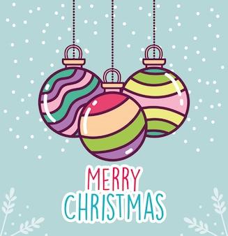 Bunter gestreifter ballschnee der feier der frohen weihnachten