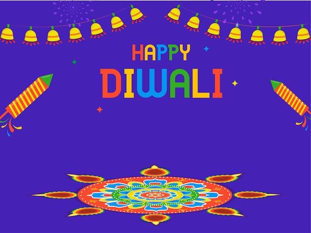 Bunter glücklicher diwali-text mit feuerwerksraketen, rangoli oder mandala-muster und beleuchtungsgirlande auf violettem hintergrund.