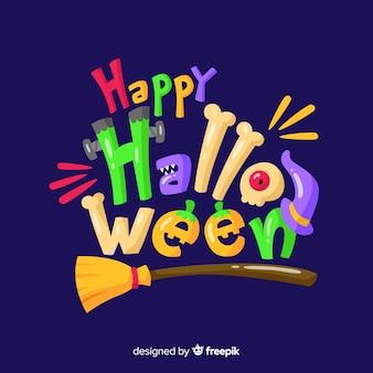 Bunter glücklicher halloween-beschriftungshintergrund