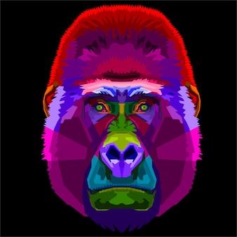 Bunter gorilla auf pop-art-stil.