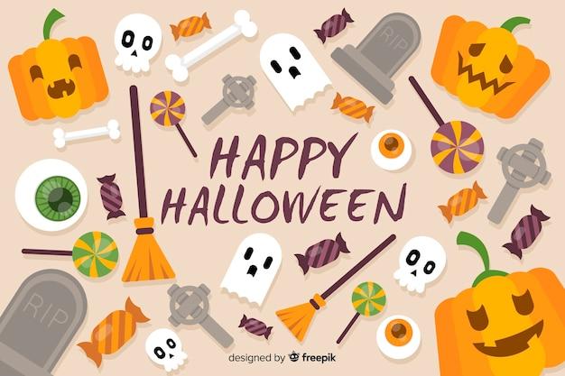 Bunter halloween-hintergrund auf flachem design