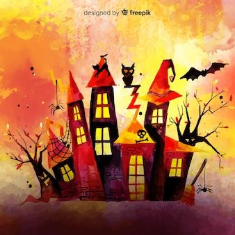 Bunter halloween-hintergrund des aquarells