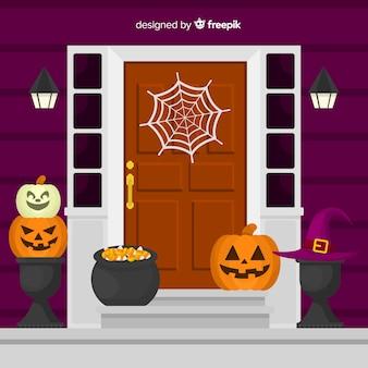 Bunter halloween-hintergrund mit flachem design