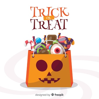 Bunter halloween-süßigkeitstaschehintergrund im flachen design