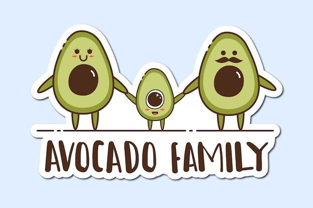 Bunter handgezeichneter avocado-aufkleber
