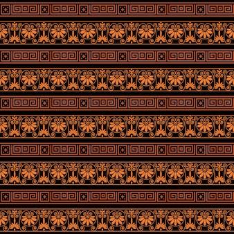 Bunter heller ethnischer nahtloser gestreifter musterhintergrund in den orange und schwarzen farben